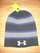 W@W*BNWT*UNDER ARMOUR**MENs*COLD GEAR*STRIPE**KNIT BEANIE/TOQUE*REVERSIBLE**OSFA