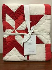 NEW Pottery Barn Star Patchwork Quilted King Pillow Sham Cotton Red & White NWT