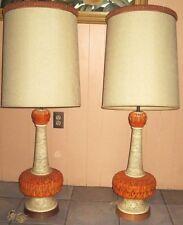 PAIR VINTAGE MIDCENTURY RETRO FAIP ORANGE CREAM CHALK TABLE  LAMP ORGINAL SHADES