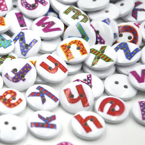 New 50/100pcs Alphabet Letter Wood Buttons 15mm Sewing Craft Mix Lots WB176