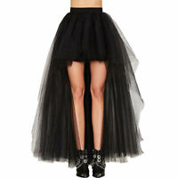 Women Gothic Steampunk Rock Tutu Skirt Petticoat Tulle Long Dress Layered Skirt