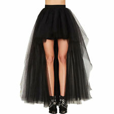 Women Gothic Steampunk Rock Tutu Skirt Petticoat Tulle Long Dress Layered Skirt