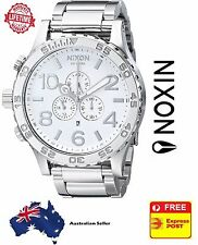 Nixon 51-30 Chrono High Polish Silver White Mens Watch A083-488 A083488