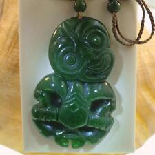 40mm XL Master Hand Carved 100% Natural Nephrite Jade Maori Hei-Tiki Pendant #1