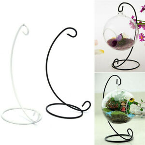 Hanging Glass Vase Flower Iron Stand Home Terrarium Planter Clear Plant Rack