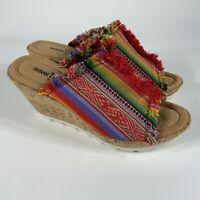 Women's size 8 Minnetonka 73301 cork wedge peep toe sandals shoes