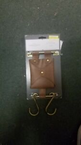 """THRESHOLD FAUX LEATHER POUCH WITH HOOKS WALL HANGING ORGANIZER 5"""" W x 10 1/4"""" T"""