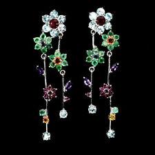 925 Silber Ohrringe, Weißgold beschichtet, Zirkon Smaragd Rubin Amethyst Garnet