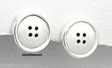 2.28g Solid Sterling Silver Button Earring Studs Safety Backs 14mm