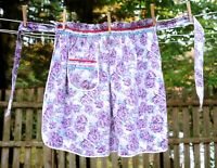 Vintage 60's Purple & Lavender Floral Cotton Hostess Half Apron Ruffle Waistband
