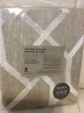 West Elm Two (2) Cotton Canvas Stained Glass Curtains 48x84 Frost Grey