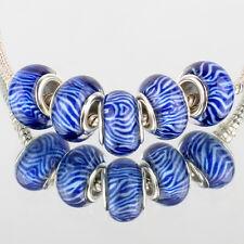 Blue stripes 5pcs SILVER MURANO glass bead LAMPWORK fit European Charm Bracelet