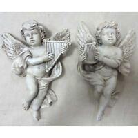 Vintage Cherub Pair with Harps Garden Ornaments Sculptures Frost Proof Angels