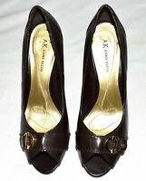 Anne Klein Maequilic Brown Leather w Toe Buckle Womens Peep Toe Heels Size 8.5M