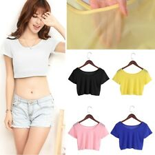Women Semi-transparent Mesh Crop Tops Girl Short Sleeve T Shirts Tees 5 Colors