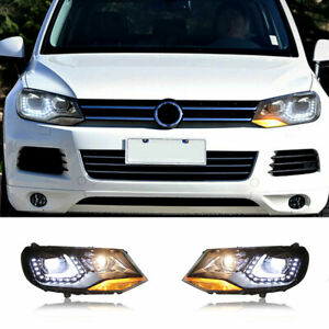 For Volkswagen Touareg LED Headlights Projector LED DRL11-14 Replace OEM Halogen