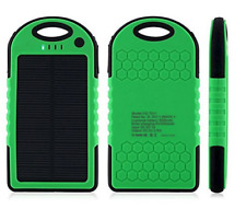 SOLAR CHARGER-5 SOLAR PANEL 5000MAH PORTABLE BACK UP POWER BANK,GREEN