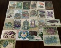 "~Lot of 25~ Pretty ~""Objects Shaped By Flowers""~Vintage Greetings Postcards-b409"