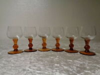 6 X Cristallo Vino/Vino Porto Vetro - Soffiato Bocca - 0,1 Litro