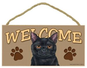 """Welcome Black Cat Sign Cute Paw Prints NEW 5""""x10"""" USA Wood Plaque Home Gift  215"""