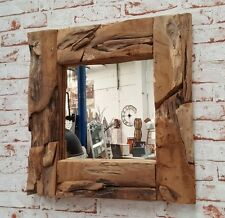 Spiegel antik Teak Treibholz Holz UNIKAT Natur Rahmen Deko Wandspiegel