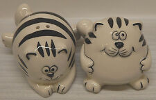 Set of Pier 1 FAT CHUBBY BLACK AND WHITE CATS Salt and Pepper Shakers