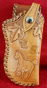 Custom Hand-Tooled Leather Holster Small Pistol Nighthawk Saddlery Bandera Texas