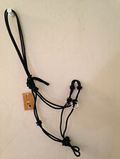 Black 4 Knot Professional Training SidePull Bitless Bridle Rope Halter Rings Ahe
