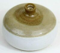 Hand-Thrown Studio Art Pottery Vase, Small, Tan, White Glaze, Signed