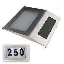 Solar LED Licht Hausnummernleuchte Hausnummer Beleuchtung Edelstahl Set