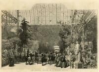Crystal Palace Winter Garden inside garden statuary 1851 ILN wood engraved print