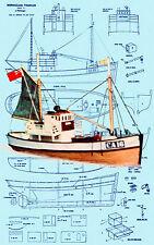 "Build a 1:16 21-1/2"" Radio Control NORWEGIAN fishing boat full size printed plan"