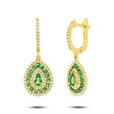 14K Yellow Gold Natural Pear Cut Green Garnet Diamond Dangle Teardrop Earrings