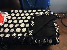 "Black Hand tied No Sew knot Volleyball Sport Fleece Blanket 72""x54"" 2layered"