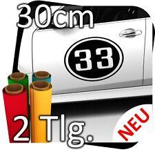 2x 30cm Nummer frei wählbar Startnummer Auto Autoaufkleber Rallynummer No.17