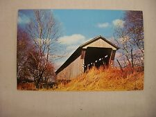 VINTAGE PHOTO POSTCARD OF COVERED BRIDGE OVER WALNUT CREEK IN ASHVILLE, OHIO