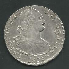 MEXICO, 1803, 8 REALES, SILVER, KM#109, CHOICE ALMOST UNCIRCULATED