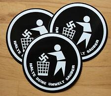 3 x Halte deine Umwelt sauber Aufkleber sticker Antifa Punk Gegen Nazis Punkrock
