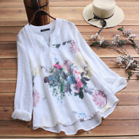 ZANZEA Women Plus Size Pullover Top Tee T Shirt Ladies Vintage Floral Blouse