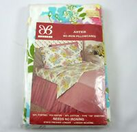 Bibb 2 Pillowcases Pair Aster Vintage 1970s Floral Pink Blue Yellow in Package