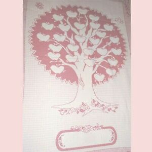 Hearts Tree Blanket Monogram Pink Rose Woven Cotton Personalize Embroidery 48x69