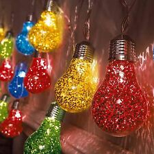 Indoor 20 Multi Coloured LED Glitter Bulb Festoon Globe Fairy String Lights Xmas