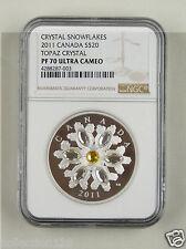 Canada Silver Coin 20 Dollar 2011,Topaz Crystal Snowflakes,NGC PF 70 ULTRA CAMEO