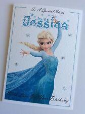 Personalised Birthday Card Disney Frozen Princess Elsa (Mum Daughter Sister)