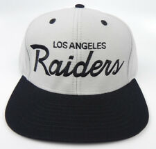 LOS ANGELES RAIDERS NFL VTG 2-TONE SCRIPT SNAPBACK RETRO CAP HAT NEW! LTGRAY/BLK