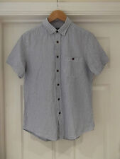 Topman Short Sleeve Cotton Shirt in Blue/White Pinstripe Size Small