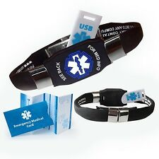 Waterproof ELITE USB black silicone medical alert ID bracelet with 2 GB USB (...