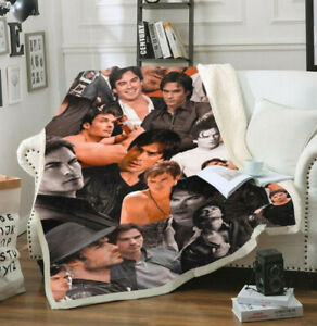 Damon Salvatore 3D Print Sherpa Blanket Travel Couch Quilt Cover Throw Bedding