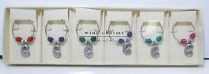 Pier 1 Imports Seashell Wine Charms Glass Markers Set 6 Beaded