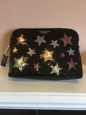 Victoria's Secret Black Sequined Stars Costmetic Bag